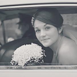 Arriving II by Melanie Pista - Wedding Bride ( car, black and white, wedding, faded, bride )