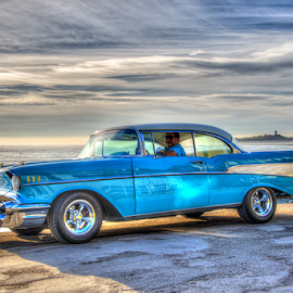 Cruising in my 57 Chevy by Jeanine Akers - Transportation Automobiles ( automobiles, classic cars, chevrolet, beach, half moon bay, nikond610 )