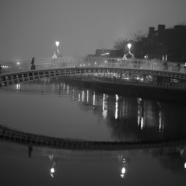 crossing the bridge by Martys Photos - City,  Street & Park  Street Scenes ( martin j muphy photography, ireland, black and white, dublin, bnw, martin j murphy )