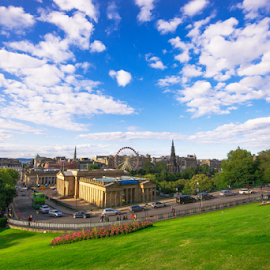 Edinburgh City Centre by Marcelo Fetz - City,  Street & Park  Vistas ( scotland, edinburgh, the mound, cityscape, city centre )