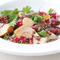 Hot-smoked Salmon, Lentil & Pomegranate Salad