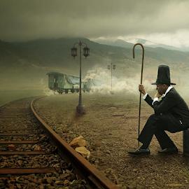 late by Budi Cc-line - Digital Art People ( digital art, mood, train, transportation )