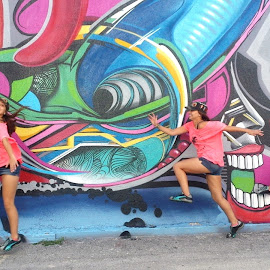 Crazy Back! by Natalia Caicedo - Abstract Light Painting ( abstract, bright, colorful, wynwood, fun, mural )