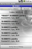 Screenshot of MyDryCleaner Mobile