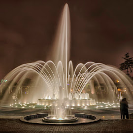 Magical Fountain by Maritere Izaguirre - City,  Street & Park  Fountains ( night photography, park, fountain,  )