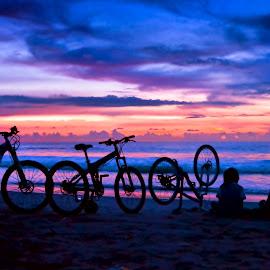 Biking in the beach by Gatot Sulistyawan - People Family