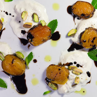 Grilled Apricots with Burrata, Pistachios and Honey Balsamic Syrup