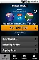 Screenshot of Yahoo Cricket