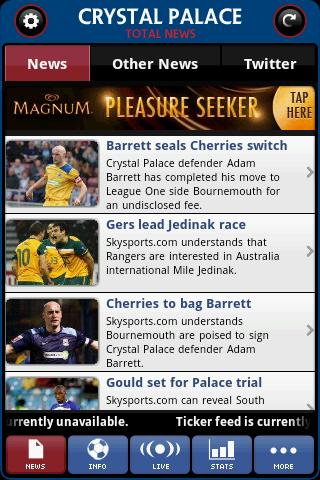 crystal-palace-total-news for android screenshot