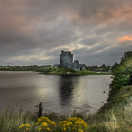 Dawn at Dunguire Castle  by Massimo Crisafi - Landscapes Sunsets & Sunrises ( clouds, reflection, ireland, dawn, sea, castle,  )