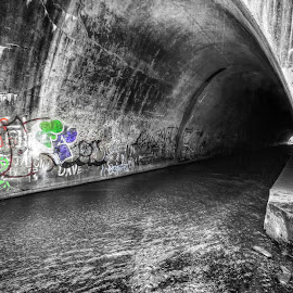 Tunnel Graffiti, 2012.12.07 by Aaron Campbell - Buildings & Architecture Other Exteriors ( coal town, stream, luzerne county, b&w, aaron glenn campbell, black and white, ashley, blur, tonemapping, contrast, 7th, spot color, northeastern pennsylvania, graffiti, 2012, motion, friday, nik software, 3xp, water, solomon creek, selective color, hdr, textures, silver efex pro, selective coloring, pennsylvania, nepa, high dynamic range, photomatix pro, december, winter, tunnel, pwc )