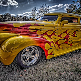 Flamed Sedan by Ron Meyers - Transportation Automobiles
