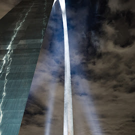The Gateway Arch by Alonzo Wright - Buildings & Architecture Statues & Monuments ( clouds, arch, the gateway arch, shine, monument, night, st. louis, light, spotlight )