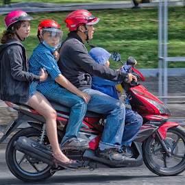 Scooter Bus Vietnam by Russ Hanson-Coles - Transportation Motorcycles ( #scooter, #commuting, #commute, #family, #travel )