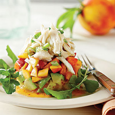 Crab Salad with Peaches and Avocados