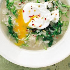 Rice Soup With Egg And Greens