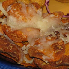 Deep-Fried Sweet Potato Chips With Mozzarella