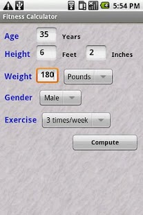 Fitness Calc - screenshot