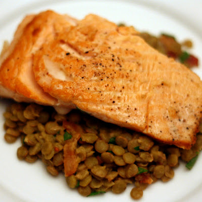 Dinner Tonight: Salmon with Smoked Bacon and Lentil Salad