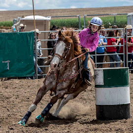 Ella Makes the Turn by Tom Reiman - Sports & Fitness Rodeo/Bull Riding ( girls, under 13, barrel race;, rodeo,  )