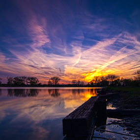 Sunset On Naperville Il by MIGUEL CORREA - Landscapes Sunsets & Sunrises ( golf course, sky, sunset, golf, lake, sunrise, pond, sun,  )