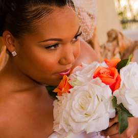 Thinking........ by Matthew Chambers - Wedding Bride ( african american wedding, wedding, texas, roses, thought, meditating, bride )