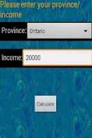 Screenshot of Canada Income Tax Calculator