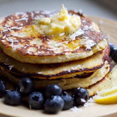 Coconut Banana Pancakes With Lemony Butter