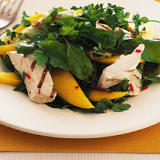 BBQ chicken with mango salad with a chilli lime dressing