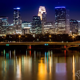 Minneapolis viewed from Broadway Ave by Darin Jensen - City,  Street & Park  Skylines ( minnesota, minneapolis, broadway avenue, skyliine, night )