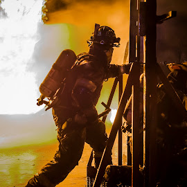 We leave no Men Behind by Daniel Craig Johnson - News & Events Disasters ( firefighter, hero, south africa, firefighters, action, africa, fire, portrait )
