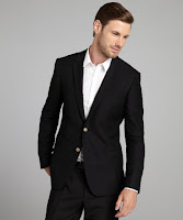 Dolce & Gabbana black honeycomb cotton blend two brass button blazer
