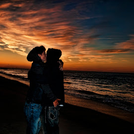 Sunrise Love by Dawn Robinson - People Couples ( love, kiss, lesbian, nature, sunset, sunrise, beach,  )