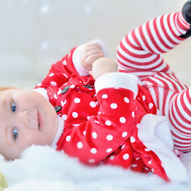Roll time by Jennifer Brooke - Babies & Children Babies ( christmas, blue eyed, baby )