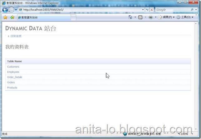 執行結果1 - 資料表名稱
