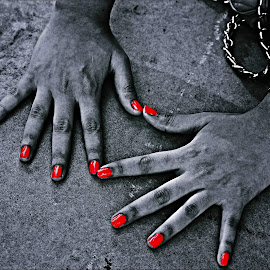by Mj Vaidya - Abstract Patterns ( love, red, symbol, black and white, hands, watch, nails )