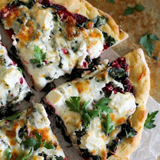 Beet Pesto Pizza with Kale and Goat Cheese