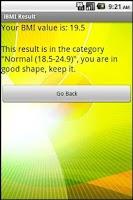 Screenshot of BMI (imperial)