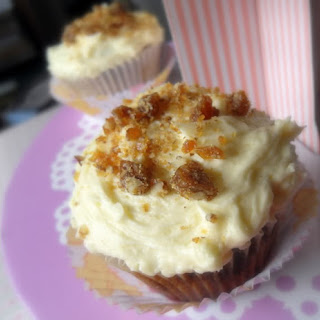 Praline Topped Coffee and Pecan Cupcakes