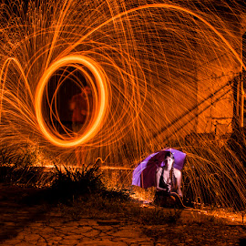 Rain by Andre Luis - Abstract Light Painting ( Steel Wool, Fire, Sparks )