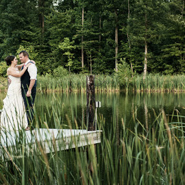 K&S by Julie Steinberg - Wedding Bride & Groom ( water, wedding, lake, bride, groom, dock, Wedding, Weddings, Marriage )