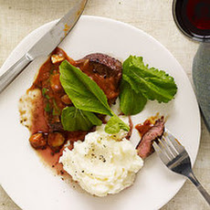 Flatiron Steaks with Cheesy, Tangy Mashed Potatoes