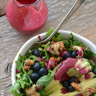 Arugala Breakfast Salad with Stovetop Maple Nut Brittle and Blueberry Lemon Dressing