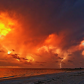 Lightning Sunset by Charles Pfohl - Instagram & Mobile iPhone ( lightning, colorful skies, sunset, boca ciega, treasure island )