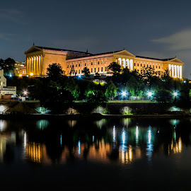 National musem Phili by Vaibhav Jain - Buildings & Architecture Public & Historical ( water, national musem phili, national, night, philadelphia, museum, river )