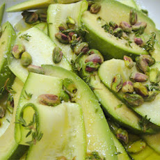 Patricia Wells's Zucchini Carpaccio with Avocado, Pistachios, and Pistachio Oil
