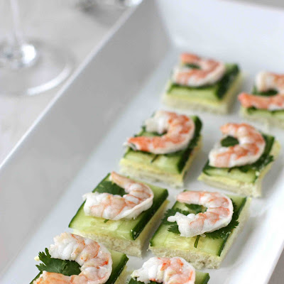 Shrimp, Cucumber & Curry Cream Cheese Canapes