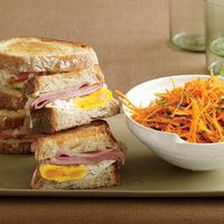 Ham, Egg and Cheese Sandwiches with Carrot-Parsley Salad