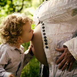 I Love Her Already by Dominic Lemoine - Babies & Children Child Portraits ( kiss, birth, outdoors, pregnancy, toddler, boy )