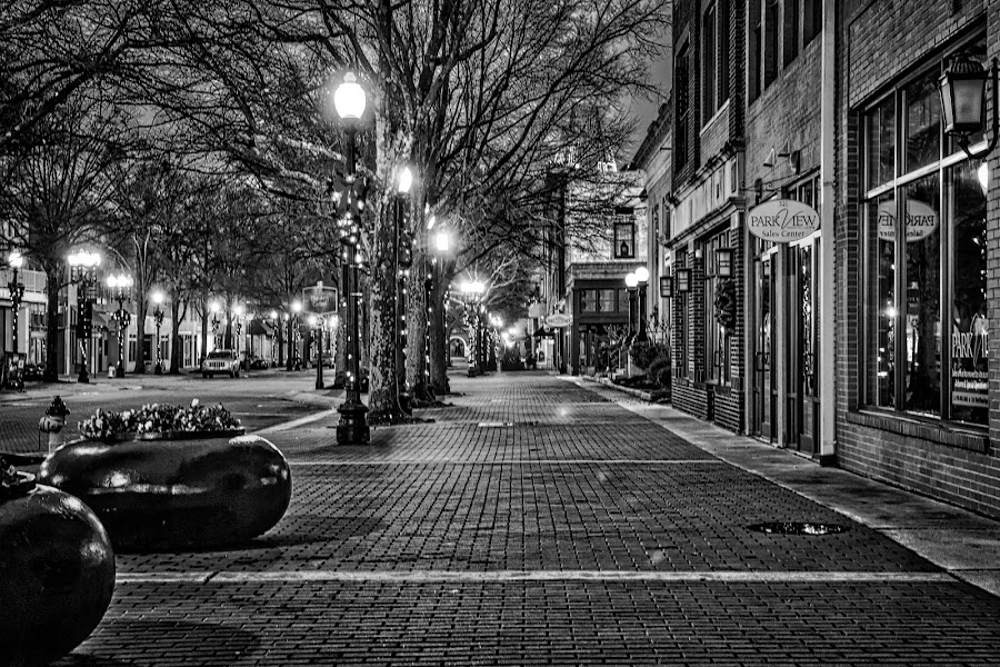 Downtown at Night by Carol Plummer - Black & White Street & Candid ( black and white, street, night, downtown, city,  )